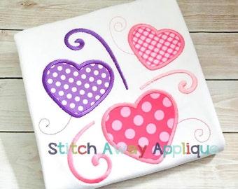 Swirl Hearts Valentines Machine Applique Design