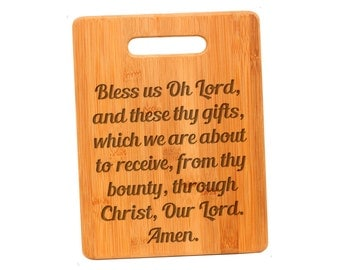 Christian Bamboo Cutting Board - Bless us oh Lord - Custom Bamboo Cutting Board