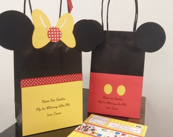 Minnie & Mickey Mouse Favor Bags (12); Disney Birthday Treat Bags, Loot Bags, Goodie Bags; Playhouse Disney