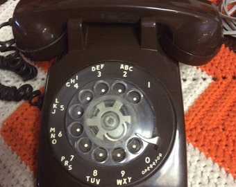 Vintage Brown Rotary Dial Phone