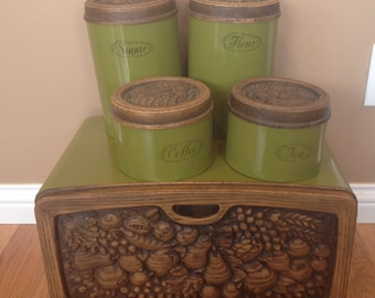 Retro Avocado Green Breadbox and Matching Canister Set/ Vintage Kitchen Decor/ 1970s