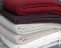 Merino wool throw blanket Plaid 140x200cm  55x79 inches