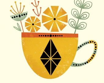 Tea for Two Set (Yellow Cup) by Amber Leaders 5x7, 8x10, 11x14 art print