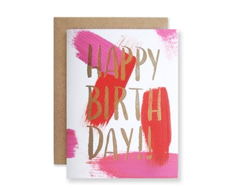Happy Birthday Letterpress Card - Hand Painted Card - Happy Bday Card
