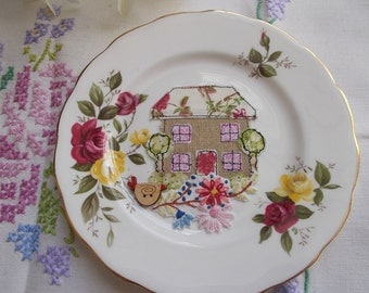 Home Vintage China Plate - textile art, vintage embroidery, customised china, new home gift, housewarming gift,