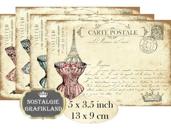 French Corset Postcards Fashion Mode Dessous Instant Download digital collage sheet vintage P187