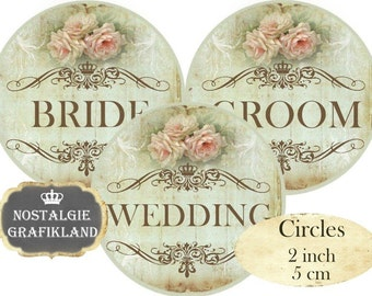 Wedding Words Bride Groom Text Circles 2 inch Vintage Instant Download digital collage sheet Married Marriage C273