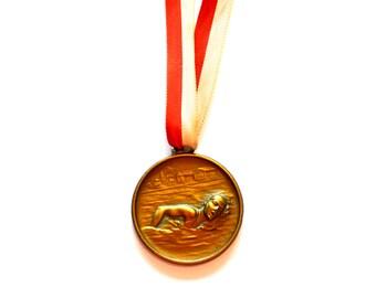Vintage Swimming Medal / Olympic Gold Medal / European Gold Medal / 1966 Vintage Antique German Commemorative Hamburg Swimming Medal