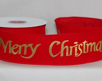 """10 yards Merry Christmas Red Velvet Wire Edge Ribbon - Ribbon for Wreaths, Gift Wrap Ribbon, 2.5"""" wide ribbon"""