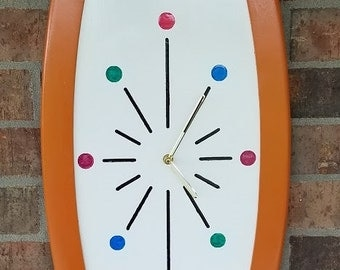 Mid Century Modern Oval Starburst Clock