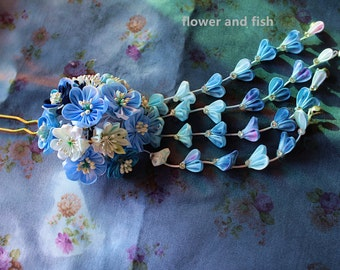 hair accessories for kimono yukata-weddinghair accessory blue bridal hair stick, wedding hair pin, bridal hair flower -B35