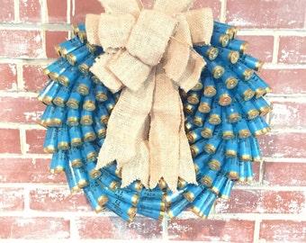 Blue Christmas Shotgun shell wreath
