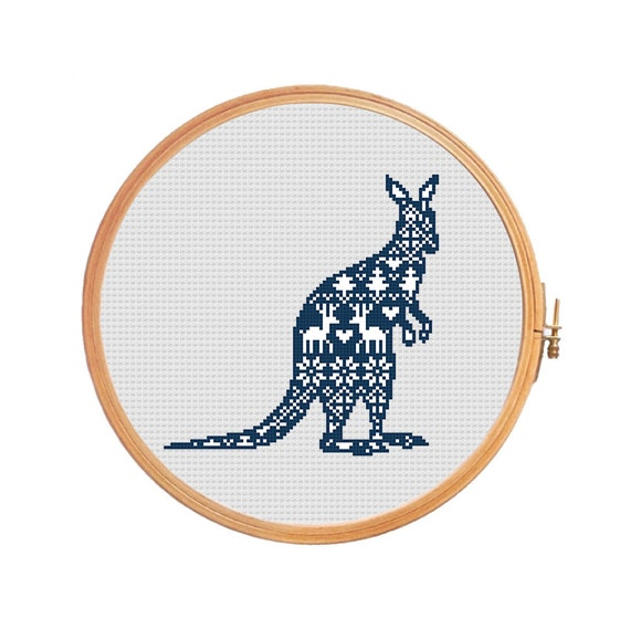 Christmas Decorations Shops Sydney: Kangaroo Nordic Ornament Cross Stitch Pattern Christmas