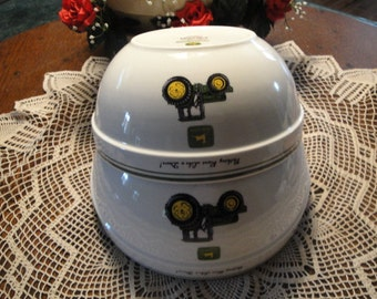 2 Gibson John Deere Tractor Nesting Bowls - Licenced Product