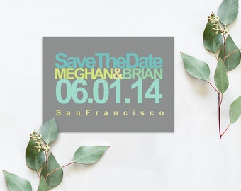 Modern Save The Date Cards in Turquoise Aqua Chartreuse Green / Mod Chic Weddings in Grey Gray / PRINTED Save-The-Date Card