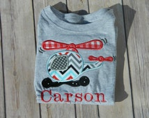 Baby Boy Onesie, Helicopter, Appliqued Onesie, Personalized Shirt