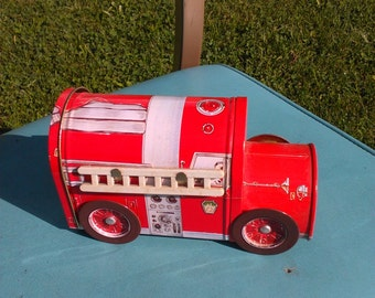 Vintage Fire Truck Candy Tin