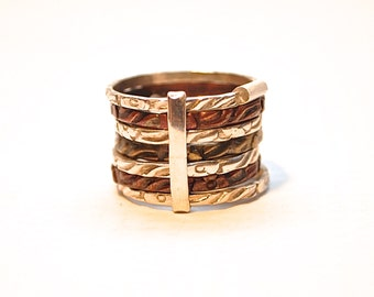 Sterling Silver Copper Brass Stack Ring Sz 6.5 #595