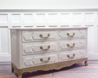 SOLD White/gold French Provincial dresser SOLD