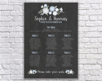 Rustic Floral Chalkboard Table Plan- Wedding seating plan