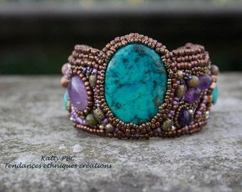 """Bracelet beaded embroidered boho """"Amitola"""""""