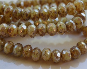 10 Champagne Czech Picasso Beads- 8x6mm Faceted Rondelle (723-10)