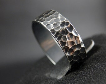 Sterling SIlver Crater Ring, Darkened Hammered Ring
