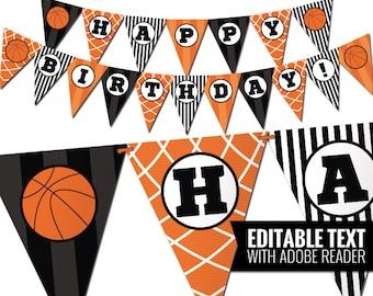 Basketball birthday banner - Basketball party -  Digital Birthday bunting banner - Sports decor  - Editable and Printable PDF file.