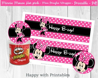 Minnie Mouse Mini Pringles wrappers - Minnie Mouse wrappers - Mini Pringles wrappers Minnie Mouse - Mnnie Mouse Hot pink printable