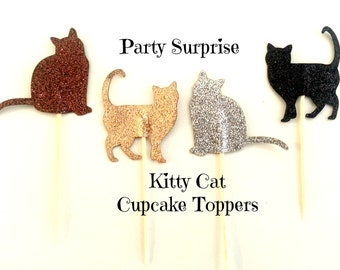 Kitty Cat Cupcake Toppers Glitter Kitties Kids Party Animal Paw Print Fur Friend Glitter Cupcake Cake Cat Toppers