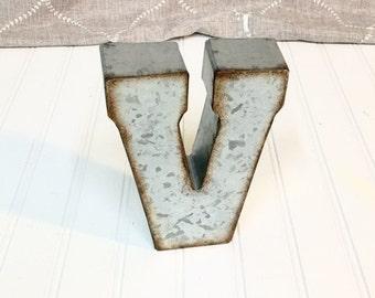Metal Letters/Letter V/ V/ Initial/Metal Letters/7 inch letter/Metal Letter/Wedding Decor/SSLID0022/Rustic/Industrial/ Nursery