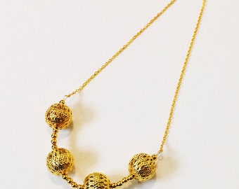 Gold Filigree Bauble Necklace