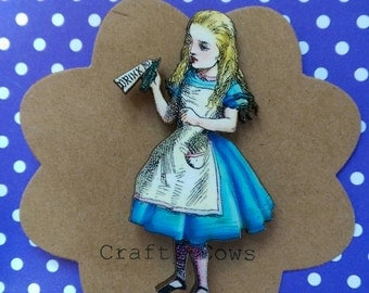 Alice in wonderland brooch kitsch Alice badge drink me brooch Alice jewellery