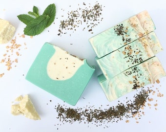 Cocoa butter + Mint handmade artisan soap - handmade soap, natural soap, essential oil soap, mint soap, refreshing soap, cocoa butter soap