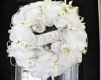 Wedding Wreath- Bridal Shower Wreath- Wedding Decoration- Bridal Shower Decoration- White Wedding- Made to Order