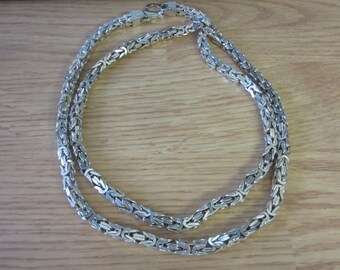 VIOR 925 Sterling Silver ITALY Wooven Chain Long Men's Necklace 166g 36""