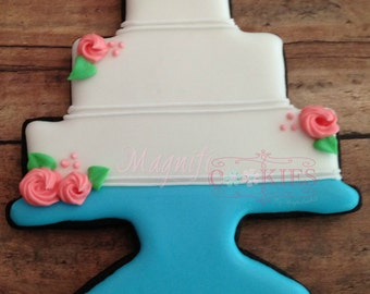 Wedding Cake Favor decorated cookies  - colors customizable