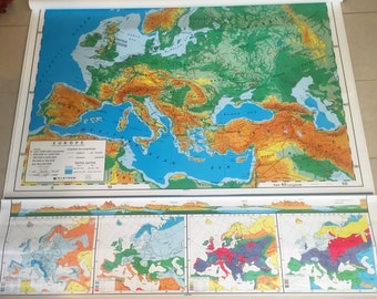 LARGE Vintage Pull Down Classroom Map Europe, Double Roll Drop Spring roller, Nystom, school office decor, geography, European, Countries