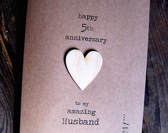 5th Anniversary card WOOD Husband Wife gift Larger Size: 18cm x 12.5cm
