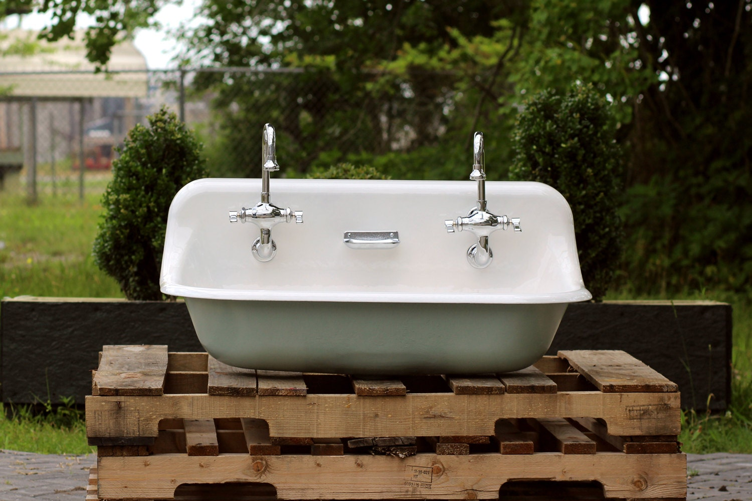 36 Antique Inspired Kohler Farm Sink Green Blue Cast