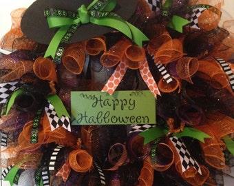 PREORDER - Deco Mesh Halloween Witch Wreath!