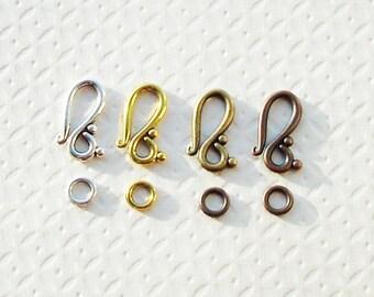 10 Sets of S Hook Clasps 20mm Antique Gold - Silver - Copper - Bronze 20mm Bracelet Rustic Tribal Ethnic