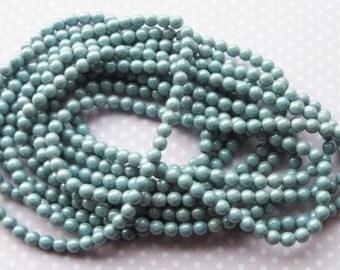 Czech Pressed Glass Round Beads, Druk, 5mm, 40 beads, Blue Luster