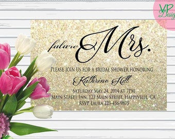 Bridal Shower Future Mrs. Invitation, digital file, DIY, Printable