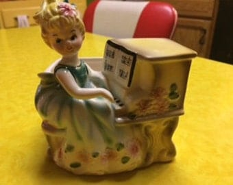 Vintage Japan Rubens Blonde Girl Playing Piano Planter Vase