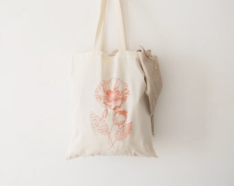 Hand-printed Opium Poppy Tote bag.