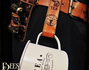 Steampunk - Leather Belt Hanger and Tea mug