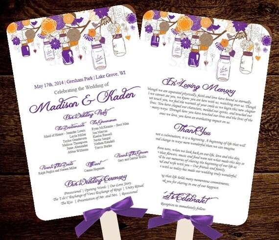 Fan Wedding Program Template Mason Jars Purple By