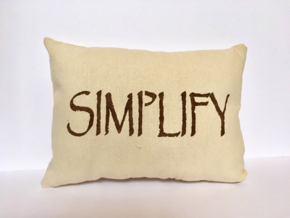Simplify pillow, Stenciled pillow, canvas pillow, lumbar pillow