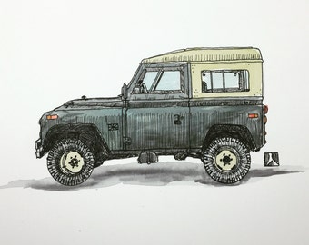 KillerBeeMoto: Original Hand Drawn Land Rover Pen & Ink With Water Color Effect